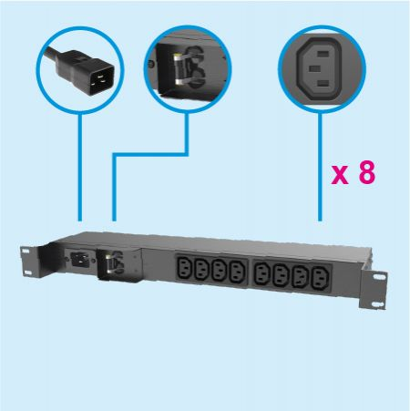 8 Outlets IEC 60320 C13 1U Metal PDU 20A Wall Mount - Power Supply Unit
