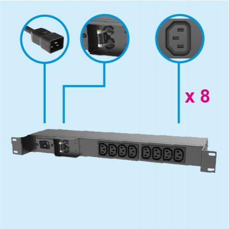8 콘센트 IEC320 C13 1U 금속 PDU 20A 벽 장착