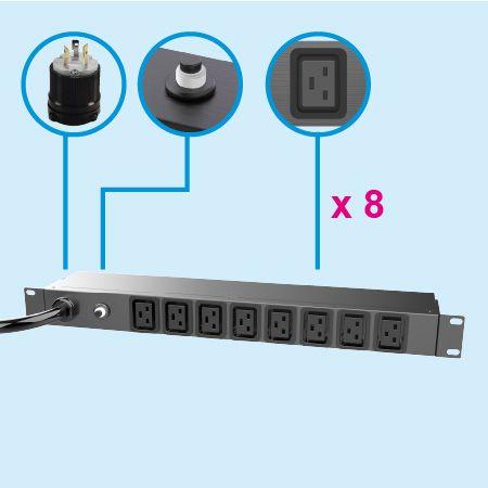 PDU de montaje en bastidor horizontal metálico 1U IEC C19 - Equipos de TI de energía
