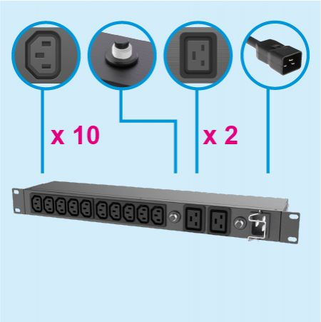 """12 salidas IEC Rack PDU 15A-20A Disyuntor Regleta de alimentación - PDU C13 C19 de 19 """""""