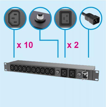 """12孔 IEC 1U機架式電源分配器帶15A-20A無熔絲開關 - 19""""C13 C19機架式電源插座"""