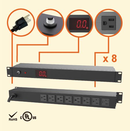 "8 NEMA 5-15 1U 19"" 계량형 배전 장치 - 총 측정 전류가 있는 8 x 5-15R 콘센트 PDU"