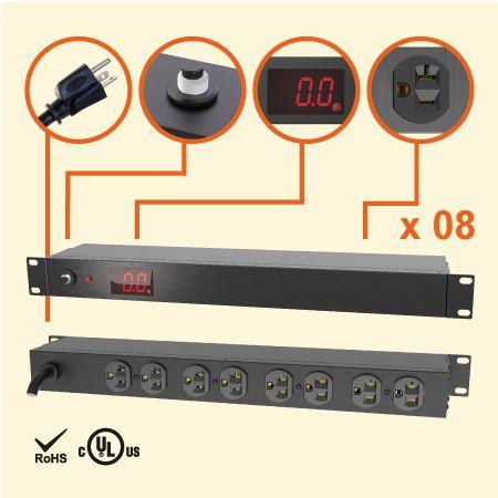 """8孔NEMA 5-20 1U 19"""" 电流型机架式电源分配器 - 20A 机柜专用LED电流显示电源插座"""