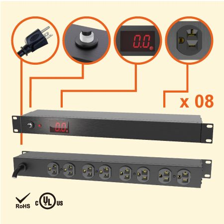 "8 NEMA 5-20 1U 19 ""メーター付きラックPDU電源タップ - 現在の従量制PDUの20APDU"