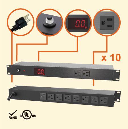 """Regleta de alimentación para gabinete medido 10 NEMA 5-15 1U 19 """" - Tomacorrientes 10 x 5-15R con medidor de corriente"""