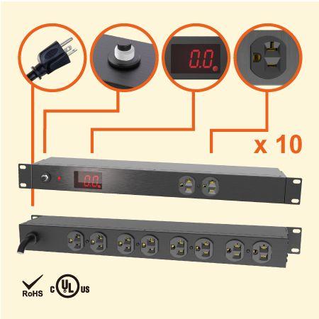 """10孔NEMA 5-20 1U 19""""电流型机架式电源分配器 - 20A 机柜专用电源插座"""