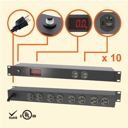 "10 NEMA 5-20 1U 19"" 계량 캐비닛 전원 스트립 - 전류 측정 PDU의 20A PDU"
