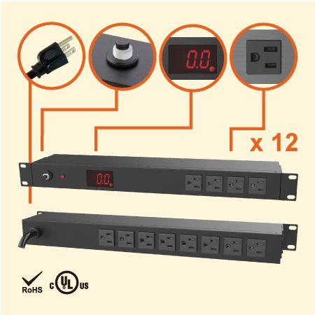 12 NEMA 5-151Uメーター付きラックPDU - 総電流計を備えた12x5-15RコンセントPDU