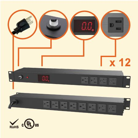 12 NEMA 5-15 1U 계량형 랙 PDU - 총 전류 측정기가 있는 12 x 5-15R 콘센트 PDU