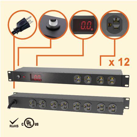 """12孔NEMA 5-20 1U 19"""" 电流型机架式电源分配器 - 20A 机柜专用电源插座"""