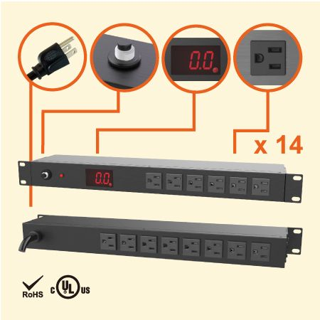 14 NEMA 5-15 1U 계량 랙 전원 관리자 - 전류 측정기가 있는 14 x 5-15R 콘센트