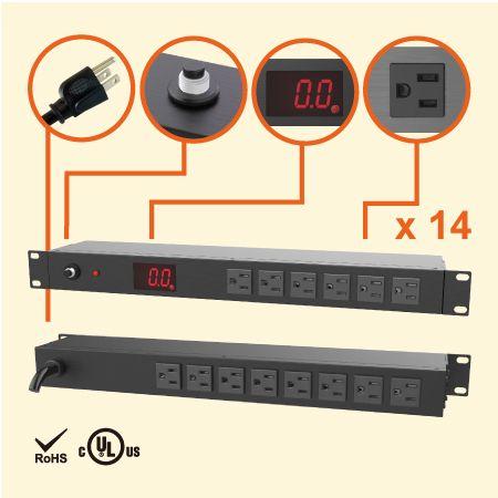 14 Administrador de energía de rack medido NEMA 5-15 1U - 14 tomacorrientes 5-15R con medidor de corriente