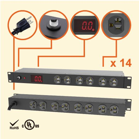 "14 NEMA 5-20 1U 19"" 측정 금속 전원 스트립 - 20A의 전류 측정 PDU"