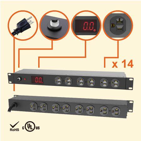 """14 Regleta de alimentación de metal medida NEMA 5-20 1U 19 """" - 20 A de PDU con medidor de corriente"""