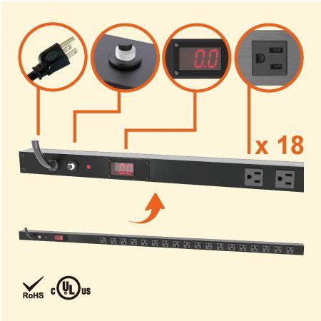 18 NEMA 5-15 0U 수직 공간 절약형 계량 전원 스트립 - 전류 측정기가 있는 18 x 5-15R 콘센트 PDU