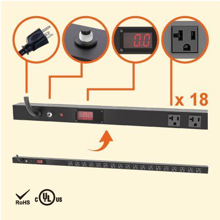 18孔NEMA 5-20 0U LED电流显示直立式省空间电源分配器 - 18 x 5-20R 电流显示电源机柜插座配5-20P插头
