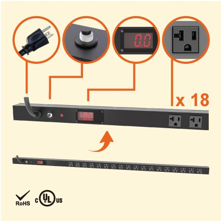 18 NEMA 5-20 0U Vertical Metered PDU Power Strip - 18 x 5-20R outlets metered PDU with 5-20P