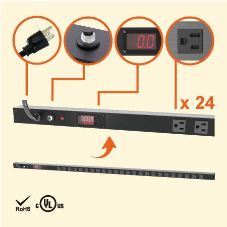 24 NEMA 5-15 0U 수직 공간 절약형 계량 전원 스트립 - 전류 측정기가 있는 24 x 5-15R 콘센트 PDU