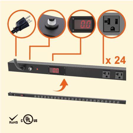 24孔 NEMA 5-20 0U LED電流顯示直立式省空間電源分配器 - 24 x 5-20R電流顯示電源機櫃插座配 5-20P插頭