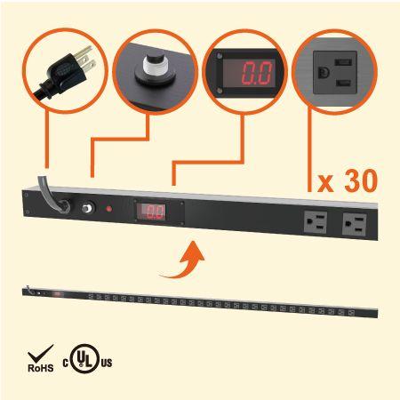 30孔 NEMA 5-15 0U 電錶型直立式省空間電源分配器 - 30 x 5-15R 監視型電源機櫃插座