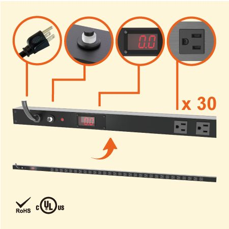 30 Regleta de alimentación para gabinete medido NEMA 5-15 0U - PDU de 30 salidas 5-15R con medidor de corriente