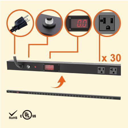 30孔NEMA 5-20 0U LED电流显示直立式省空间电源分配器 - 30 x 5-20R 电流显示电源机柜插座配5-20P插头
