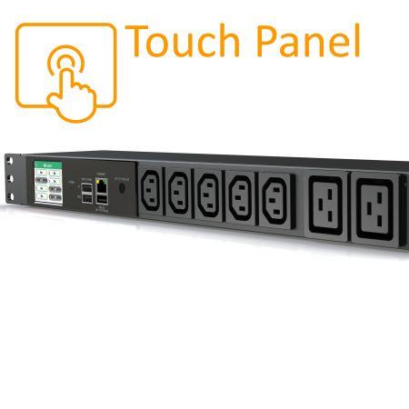 7 розеток (C13 / C19) БРП с сенсорным ЖК-дисплеем, 20 А, 125 В, горизонтальный - Smart Rack PDU
