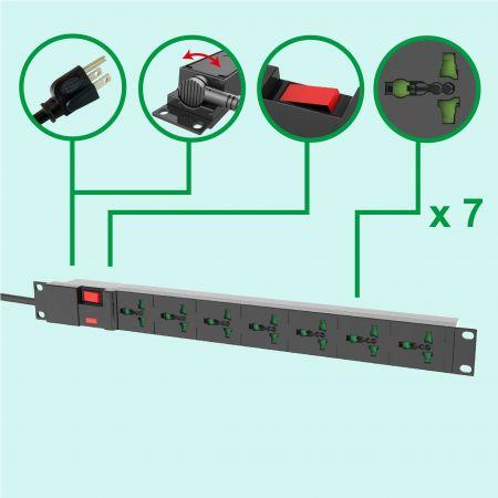"""Universal 7 salidas 19 """"Rack PDU 10A 110V-250V 1U Regleta de enchufes - PDU de 7 salidas con protección contra sobretensiones"""