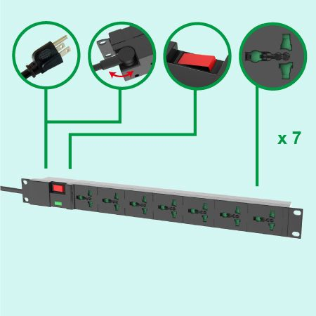 Universal 7 Steckdosen 19-Zoll-Rack-PDU 10A 110V-250V 1U Steckdosenleiste - 7 Steckdosen-PDU mit Überspannungsschutz