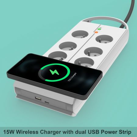 Wireless Charger Power Strip - Qi-Certified Ultra-Slim Wireless Charger