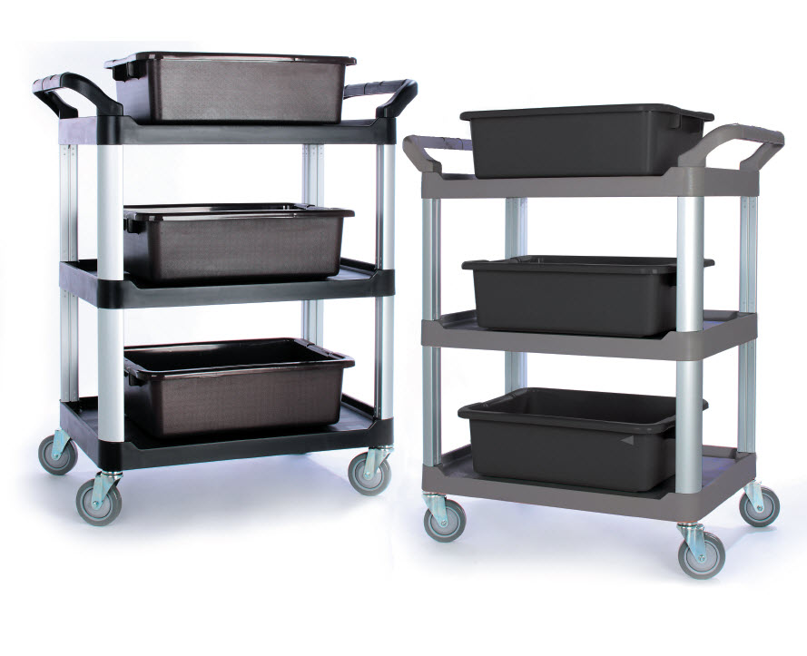 TB-3424-GY Foodservice Cart (small, 3-shelf, gray) - TB-3424-GY Foodservice Cart (small, 3-shelf, gray)