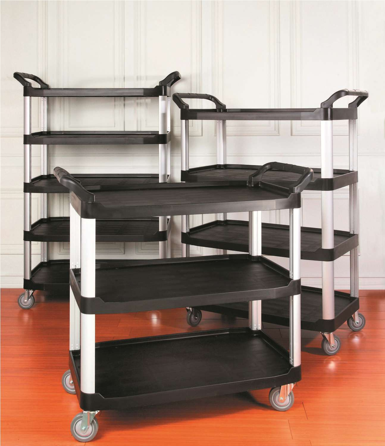 TB-4091-55BKWH Foodservice Cart (Large, 5-shelf, black & white) - TB-4091-55BKWH Foodservice Cart (Large, 5-shelf, black & white)