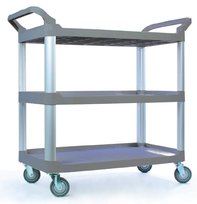 TB-4091-GY Foodservice Cart (Large, 3-shelf, gray) - TB-4091-GY Foodservice Cart (Large, 3-shelf, gray)