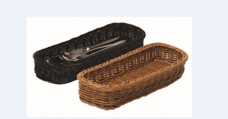 TB-3209 Flatwares Plastic Rattan Basket (color: black/ tea)