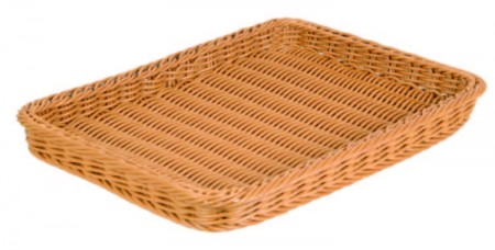 TB-3353-TEA Rect. Plastic Rattan Basket (color: tea)