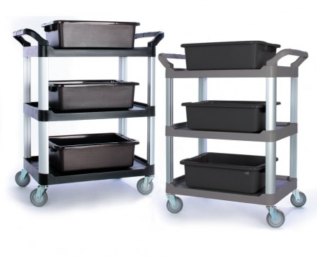TB-3424-GY Foodservice Cart (صغير ، 3 رف ، رمادي) - TB-3424-GY Foodservice Cart (صغير ، 3 رف ، رمادي)