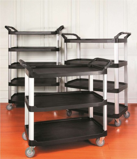 TB-4091-BK Foodservice Cart (Large, 3-shelf, black) - TB-4091-BK Foodservice Cart (Large, 3-shelf, black)