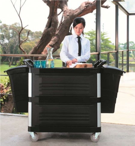 TB-4093-BK Foodservice Enclosed Cart (Large , 3-shelf, black) - TB-4093-BK Foodservice Enclosed Cart (Large , 3-shelf, black)