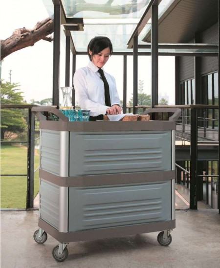TB-4093-GY Foodservice Enclosed Cart (Large, 3-shelf, grey) - TB-4093-GY Foodservice Enclosed Cart (Large, 3-shelf, grey)