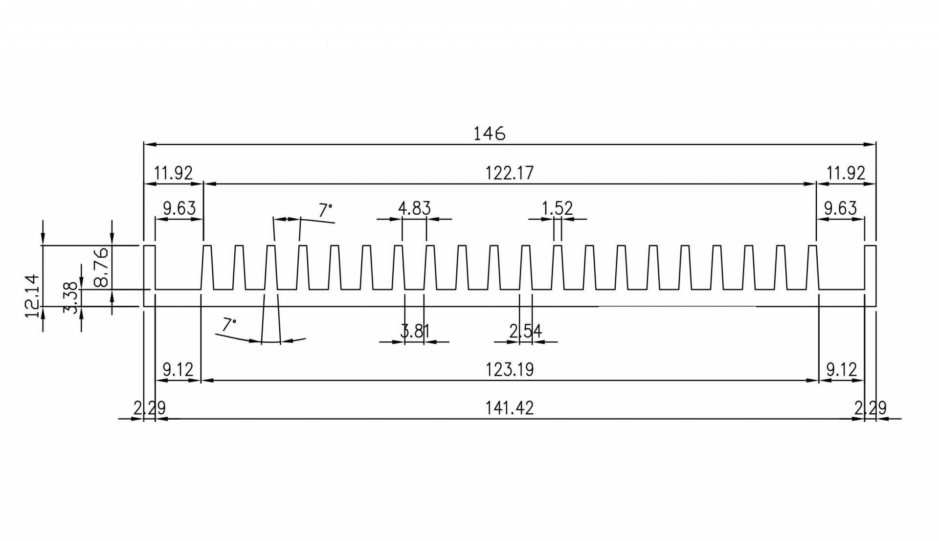 W146.0mm × H12.14mm 陽極鋁擠散熱片