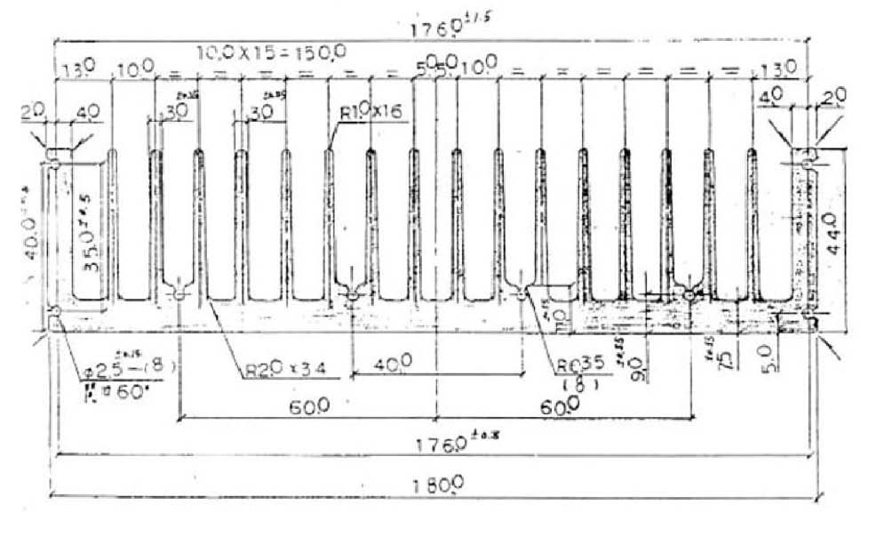 W180.0mm × H44.0mm 散熱鋁擠散熱片