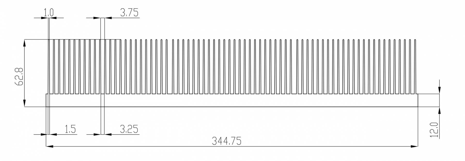 Алюминиевый экструзионный радиатор (ширина более 200 мм)