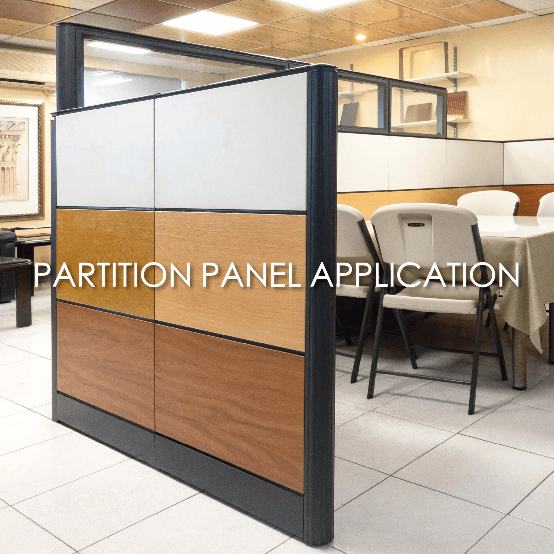 Using laminated metal to create office compartment screens for added decorative and durability