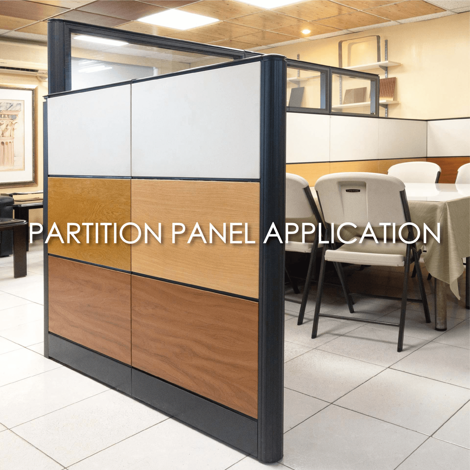 Use of laminated metal to create office compartment screens for added decorative and durability