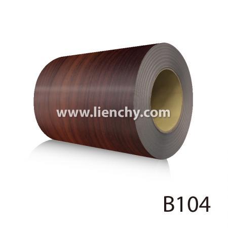 Wood Grain PVC Pre-coated Metal  - Red Cherrywood (coils)