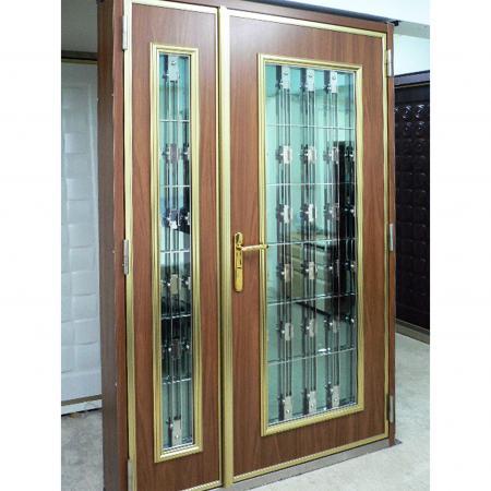 Wood Grain PVC Pre-coated Metal -Walnut (Walnut Wood Grain PVC Pre-painted steel indoor door panel)