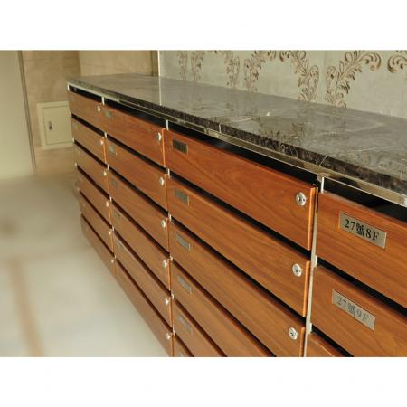 Wood Grain PVC Pre-coated Metal -Walnut (Walnut Wood Grain PVC Pre-painted steel indoor mail box)