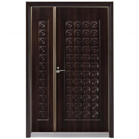 Wood Grain PVC Pre-coated Metal -Brown Walnut (Brown Walnut Wood Grain PVC Film Laminated Metal fireproof door sheet)