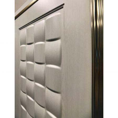 Wood Grain PVC Pre-coated Metal -White Oak (White Oak Wood Grain PVC vinyl coated metal fireproof door sheet)