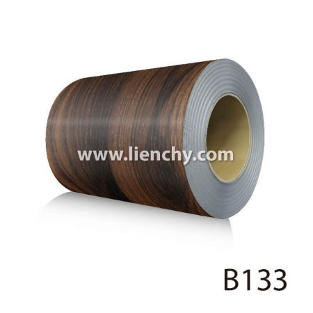 Wood Grain PVC Pre-coated Metal -Mocha Cherrywood (coils)